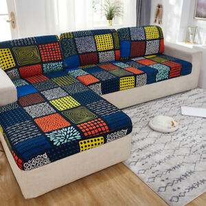 Fitted Sofa Sectional Covers L Shape Cushion Slipcover 2 Seater Printed Lycra H