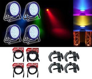 (4) Chauvet DJ EZpar 64 RGBA Rechargeable Black SlimPar Wash Light+Cables+Clamps