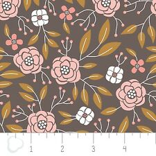 CAMELOT 100% cotton Fabric Patchwork Quilting  MAGNOLIA - FLOWERS IN TAUPE
