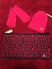 Michael Kors Pink And Black Leopard Circle Scarf With Hat And Gloves