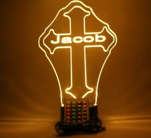 Religious Cross Light Up Table Lamp LED Personalized Free Engraved With Remote