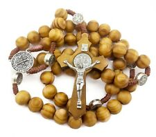 Saint St Benedict Olive Wood Beads Rosary Necklace Protection NR Medal Jerusalem