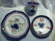 Antique Gaudy Welsh Seeing Eye 3 Piece Set Cup Saucer & Plate