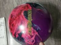 "14 lb STORM ""DIMENSION"" BOWLING BALL - USED - LAVENDER & BLUE SWIRL COLORATION"