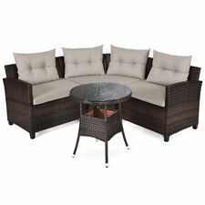 Patiojoy 4PCS Patio Rattan Furniture Set Poolside Cushioned Sofa Table Sectional