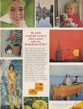 1962 Kodachrome II PRINT AD Collage of great images fishing skiing cat kid smile