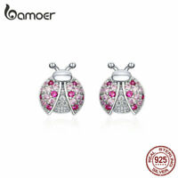 BAMOER Authentic Stud Earrings S925 Sterling silver CZ Ladybug For Women Jewelry