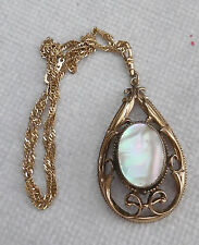 WHITING & DAVIS VINTAGE PENDANT WATCH WITH MOTHER OF PEARL ON ONE SIDE