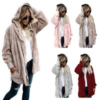 Winter Fashion Women's Fleece Fur Jacket Outerwear Tops Warm Hooded Fluffy Coat