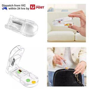 Pill Tablet Vitamin Cutter Splitter Divider Portable Travel Medicine Storage Box