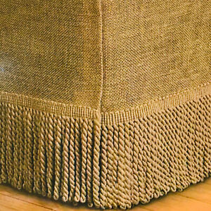 Home Accents Burlap Jute Twin Bedskirt w/ Fringe Tassel Farmhouse CountryTan