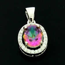 Sterling Silver Cubic Zirconia Micro Pave Set Mystic Topaz Pendant +Chain