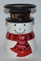 NEW BATH & BODY WORKS CERAMIC SNOWMAN PEDESTAL LARGE 3 WICK CANDLE HOLDER STAND