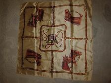 "Vintage unbranded scarf, beige w horse head bridle reins equestrian pattern, 29"""