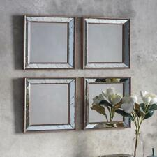 "Bambra Set of 4 Antiqued Glass Gold Frame Rectangle Wall Mirrors 15"" x 15"" (4pk)"