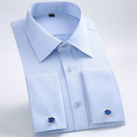 Mens French Cuffs Shirts Long Sleeves Formal Business Work Dress Cufflinks 6386