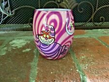 New Vintage Disney Store Cheshire Cat Glass Jar Candle Purple Pink Wax Candle