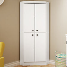 White Four Door Corner Storage Cabinet Home Living Room Pantry Kitchen  Furniture Part 39