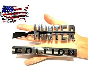 HUNTER EDITION Emblem Exterior TRUCK LOGO DECAL SIGN RED NECK CAR Door Badge