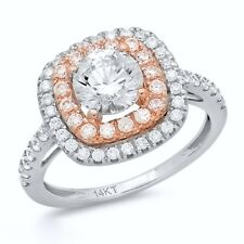 1.8Ct Round Cut Halo Engagement Wedding Promise Ring Solid 14K White Rose Gold 7