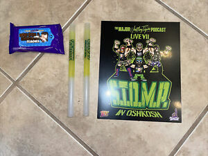 The Major Wrestling Figure Podcast Live 7 Lot includes glow sticks, print, wipes