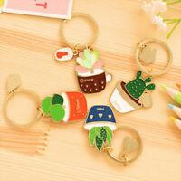 Cute Succulent Plant Cactus Metal Key Chain Key Holder Handbag Pendant Ornament