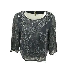 Top Shop Women's Short Semi Sheer Embellished Beaded Top Blouse Sz 6 Navy Blue