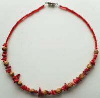 Navajo Ghost Cedar Beads Juniper Berry Coral nuggets 20 inch Choker by Manygoats