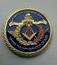 * UK DELIVERY * - FINE GOLD PLATED MASONIC FREEMASON EMBLEM COIN GIFT TOKEN