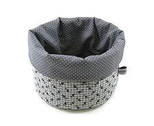 Stoffkörbchen Rosen Vichykaro grau-weiß - Brotkorb Utensilo - bettina bruder®