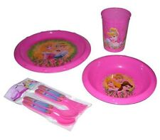 Disney Princess 7 pcs Dining Set Plate Bowl Cup Spoons & Forks Pink NEW
