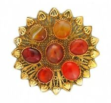 Vermeil Sterling Silver Gold Plate Pin Vintage Large 7 Stone Agate Filigree