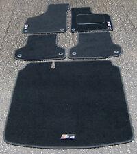 Black SUPER VELOUR Car Mats to fit Audi S3 8P (2006-2012) + S3 Logos + Boot Mat