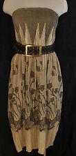 Brown BoHo Grunge Lapis Gored Flared Strapless Tube Top Dress / Long Skirt OS