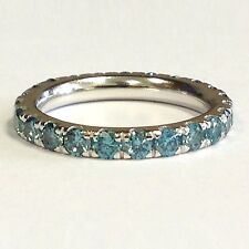 1.00 Ct Round Blue Diamond Micro Pave Set Full Eternity Ring in 18k White Gold