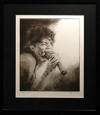 "Ronnie Wood ""Mick Jagger"" custom framed Hand Signed Artwork, The Rolling Stones"