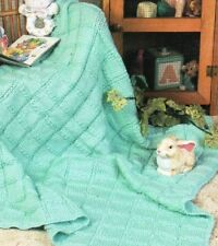 Blanket knitting Pattern ~ Textured Squares DK 8 Ply