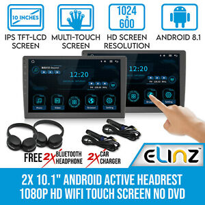 "2x 10.1"" Android Active Car Headrest 1080P WiFi Touch Screen No DVD Player"