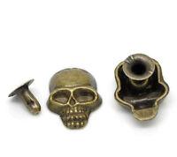 """50 Sets Bronze Tone Skull Spike Rivet Studs Spots 16x12mm(5/8""""x4/8""""), 7mm(2/8"""")"""
