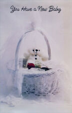 Bear and Red Rose In Basket New Baby Card - Greeting Card by Freedom Greetings