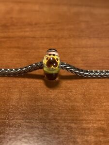 Authentic Trollbeads Brown Paw Prints On Yellow Design Unique OOAK New!!