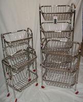 2 3 4 TIER STAINLESS STEEL KITCHEN FRUIT VEGETABLE TROLLEY STORAGE STAND RACK