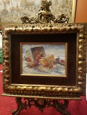 """BEAUTIFUL HAND MADE PAINTING FRAME & VINTAGE 20"""" Brass Victorian LADY Easel"""