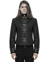 Punk Rave Mens Steampunk Short Military Jacket Black Dieselpunk Armour Gothic