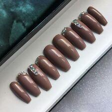 Hand Painted False Nails Extra Long Coffin Coffee Nude Bling Tip Full Cover Tips