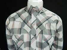 Panhandle Slim Vintage Western Wear Plaid Pearl Snap Button Shirt Embroidered M