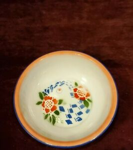 "Vintage Enamel 9-1/2"" Orange & Blue Bowl Butterfly Brand China"