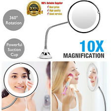 """10X Suction Cup Makeup Flexible Mirror 7"""" Goodneck 360 Degree + LED Light NEW"""