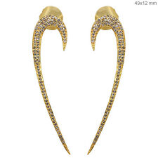 Solid 14k Yellow Gold Diamond Pave Stick Earrings Antique Style Fine Jewelry CY