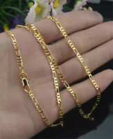 "2mm Mens Women's Gold Plated Stainless Steel Figaro Chain Necklace 16""-30"" HOT"